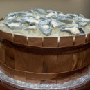 Bushel of Oysters Grooms cake, with chocolate plank barrel and fondant oysters