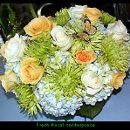 Wedding centerpiece of hydrangea, roses, and Fuji mums.