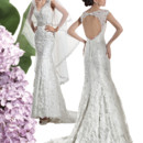 Ultra Sophisticates Style 1460 Venice lace wedding gown with a V-neckline, dramatic key-hole back and Trumpet skirt. The back on this bridal dress features buttons over zipper and attached Chapel length train. Jeweled belt sold separately.