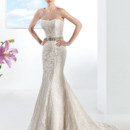 Ultra Sophisticates Style 1474 Venice lace, strapless, fit n flare wedding gown with a Soft Sweetheart neckline. This bridal dress has a Chapel train. Jeweled belt style BL40 sold separately.