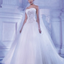 Young Sophisticates Style 2871 Strapless Tulle wedding gown with a Basque waist, crystal jewelling and ruching on soft Sweetheart bodice and lace-up back. The full, A-line skirt on this bridal dress features a Chapel length train.