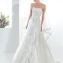 Illusions Style 3196 Organza, Strapless bridal dress with a soft Sweetheart neckline, Alencon lace bodice with lace-up back and flower on waist. This wedding gown features a multi-tiered split front skirt and attached Chapel train.