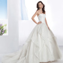 Illusions Style 3198 Organza, Strapless wedding gown with a ruched bodice and full A-line soft tulle skirt with handkerchief Organza overlay. This bridal dress has a Chapel length train.