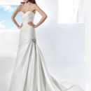 Illusions Style No. 3209 Taffeta, fit n flare wedding gown with a Sweetheart neckline and asymmetrical pleats. The skirt on this bridal dress features a wrapped side pick-up with jeweled motif and attached Chapel train.