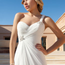 Destination Romance STYLE DR191 Chiffon, One-shoulder gown with a Sweetheart neckline, asymmetrical ruching with beaded appliqués on bodice and buttons on back. A-line skirt features tiers of ruffles and a Chapel length train.
