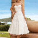 Destination Romance STYLE DR192 Chantilly lace, Strapless, A-line, Cocktail length dress with jeweled trim on waist and a scalloped neckline and hem. Available Colors