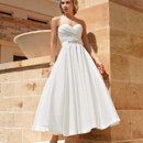 Destination Romance STYLE DR195 Taffeta, Strapless, A-line Cocktail length dress with a Sweetheart neckline, ruched, wrap bodice and belt with jeweled appliqué on waist