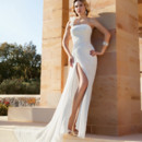 Destination Romance STYLE DR209 Chiffon, One-shoulder, A-line gown with asymmetrical ruching throughout gown, high slit on skirt and Chapel length train.