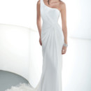 DR184 One-shoulder, chiffon wedding gown with asymmetrical ruching and inverted draping. Back of dress features a draped skirt with attached train. Belt with flowers and clusters of beading sold separately.