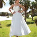 198 Taffeta, A-line, Cocktail length destination wedding dress with a soft Sweetheart neckline, ruched bodice and beaded belt on waist.