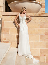 Destination Romance STYLE DR190 Chiffon, A-line gown with a Sweetheart neckline, beaded straps and ruched bodice embellished with beading. Low back features buttons and Sweep train