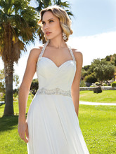 Destination Romance STYLE DR199 Chiffon, A-line halter gown with a Sweetheart neckline and ruched bodice. Waist and halter straps are embellished with jeweled beading. Skirt features a Chapel train.