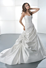 GR237 Satin taffeta, ruched fit and flare with a sweetheart neckline, corset back and bustled skirt with attached train. Available in ivory, white, diamond white.