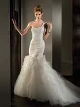 531 Organza, One-Shoulder, Fit 'n' Flare with a ruching and beaded lace on bodice and Lace up back. Tulle Skirt features ruffles and ribbons.
