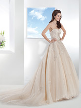 1467 Venice lace over Tulle, Strapless wedding gown with a full A-line skirt. This bridal dress has a Chapel length train.