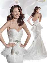 1475 Alencon lace, strapless, fit and flare wedding gown with a Sweetheart neckline and Peplum bodice. The skirt on this bridal dress features a Chapel length train. Satin belt with jewelling style BL41 sold separately.