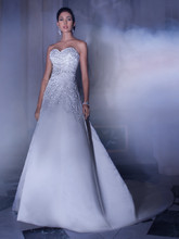 4325 Satin, Strapless, Sweetheart neck, A-line wedding gown embellished with beaded embroidery and jeweled trim on waist. This bridal gown features a back with buttons over zipper and attached Chapel train