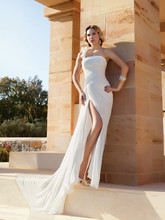 209 Chiffon, One-shoulder, A-line destination wedding gown with asymmetrical ruching throughout bridal dress, high slit on skirt and Chapel length train.
