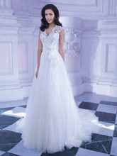 257 Soft tulle, A-line wedding gown with a beaded Venice lace V-neck bodice and ribbon belt with flower on waist. The high, sheer lace back on this bridal dress features buttons and attached Chapel train.