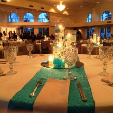 220x220 sq 1442949455946 turquoise runners indoor ceremony w light curtain