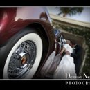 Bride and Groom with an old car.