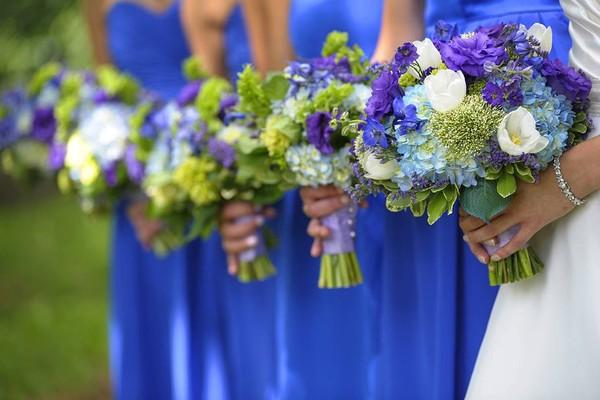 Blue Green Purple Bouquet Delphinium Destination Hydrangea