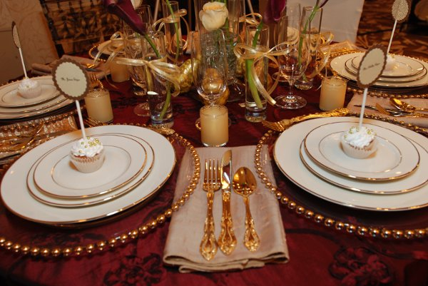 Burgundy Gold Centerpieces Indoor Reception Place Settings Wedding Reception Photos Amp Pictures