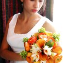 130x130 sq 1264481257008 orangeandwhitebouquet