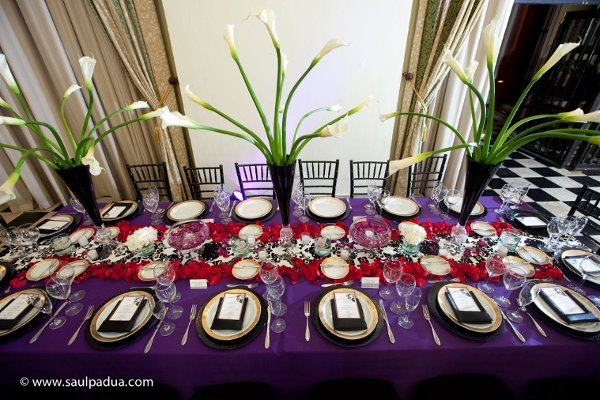 Black Gold Purple Red White Centerpieces Chairs Indoor Reception Menu Cards Place Settings