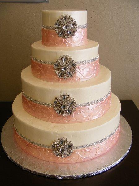 1356416434295 ivorypinksilverbroachedweddingcake houston wedding cake. Black Bedroom Furniture Sets. Home Design Ideas