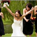 Excited bride with her bridesmaids