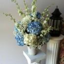 130x130 sq 1455376338449 altar ceremony blue hydrangea white larkspur babys