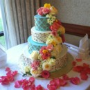 130x130 sq 1455377046641 cake cascade coral roses yellow roses