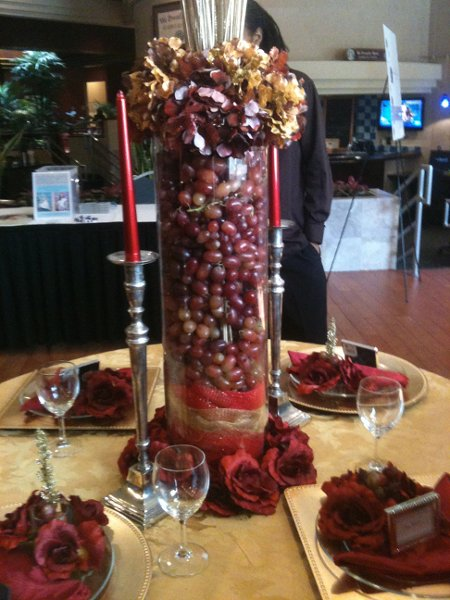 Burgundy gold red centerpiece centerpieces fall indoor