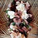 Our Brown, Cafe and Ivory Floral Bridal Cascade Bouquet. All Silks.