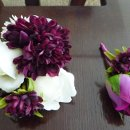 Corsage in Silk Roses and Silk Mums in Dark Purple or Eggplant.