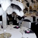 Black and White Ostrich Feathers with Clear Beads.