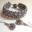 Beaded bracelet and earring set. Perfect for your bridesmaids, your bride, or the mother of the bride. Can be done in custom colors.