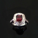 Custom design ruby and diamond engagement ring
