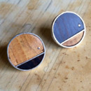 silver, cork, and wood cuff links