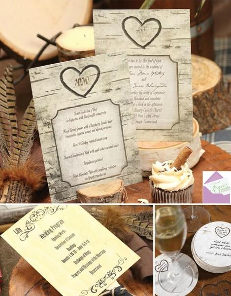 Romantic Rustic Brown Ivory Invitations Wedding Invitations Photos