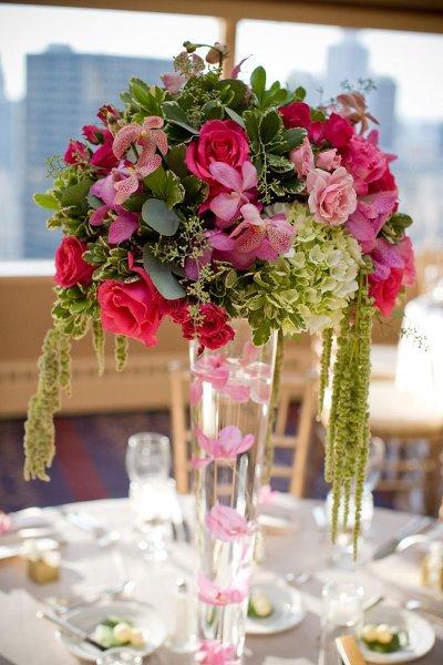 Green pink centerpiece centerpieces spring summer wedding