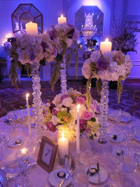 Crystal centerpiece trio set houston wedding