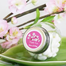 Fill these personalized glass candy jars with your favorite sweets and give as wedding favors or bridal shower favors.