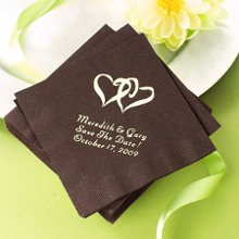 Personalized napkins in dozens of colors and themed designs for your wedding reception or bridal shower.