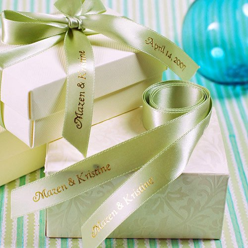Wedding Favor Ribbon Tags : Favor Tins and Pails Monogram Personalized Ribbon Tags Wedding Favors ...