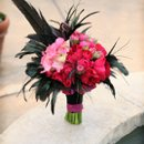 Fucshia and Black feather Bridal bouquet