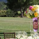 Centerpiece with crystals in bold summer pinks, yellows and whites
