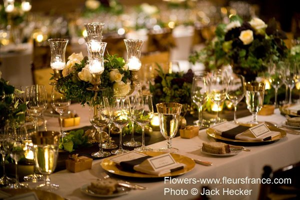 Gold Green Ivory Centerpieces Fall Indoor Reception Spring