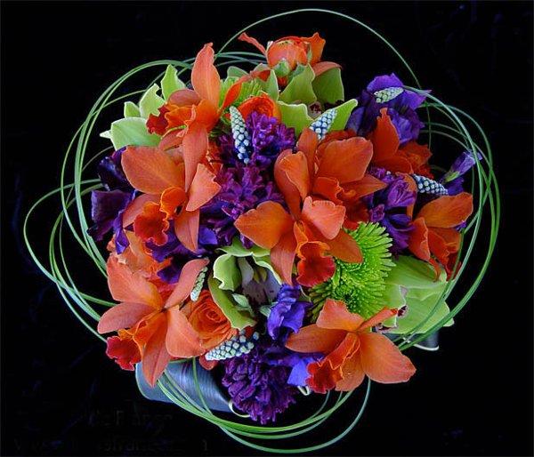 Orange Flower Arrangements For Weddings: Green Orange Purple Bouquet Spring Wedding Flowers Photos